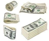 Vikt hundra dollarräkningar som isoleras på vit Royaltyfri Fotografi
