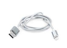 Vikt isolerad USB blixtkabel Royaltyfria Bilder