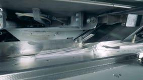 Vikt papper får transporterat på transportbandet arkivfilmer