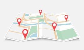 Vikt pappers- stadsöversikt med den röda stiftpekaren, vektorillustration Arkivbilder