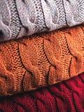 Vikt ull i tre färger Arkivfoto