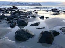 Vikten Beach - Lofoten Beach, Norway Stock Photo