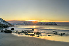 Vikten Beach - Lofoten Beach, Norway Royalty Free Stock Photography