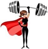 Vikter för skurkroll för Superherokvinnaweightlifter lyftande ovanför det isolerade huvudet royaltyfri illustrationer