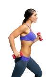 vikter för 1 härliga brunetthand för idrottsman nen Arkivbilder