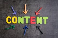 Viktigt av innehåll i advertizing- och kommunikationsbegrepp, c royaltyfri foto