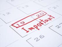 Viktigt datum på kalenderskrivbord 1 arkivbilder