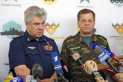 Viktor Bondarev and Alexander Zhilkin. ASHULUK TRAINING AREA, ASTRAKHAN REGION, RUSSIA - AUG 07, 2016: Commander-in-Chief of the Russian Air Force Viktor Stock Photo