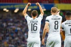 Viktor Claesson de FC Krasnodar comemora ap?s ter marcado o objetivo da sua equipe imagens de stock