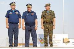 Viktor Gumenny, Viktor Bondarev and Alexander Zhilkin. ASHULUK TRAINING AREA, ASTRAKHAN REGION, RUSSIA - AUG 07, 2016: Commander of air and missile defense of Stock Photo