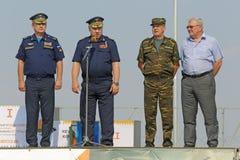 Viktor Gumenny, Viktor Bondarev and Alexander Zhilkin. ASHULUK TRAINING AREA, ASTRAKHAN REGION, RUSSIA - AUG 07, 2016: Commander of air and missile defense of Stock Photography