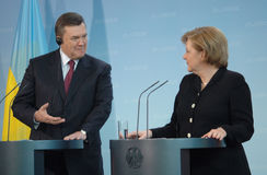 Viktor Janukowitsch with German Chancellor Angela Merkel Royalty Free Stock Photography