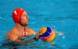 Viktor Nagy (hun, 1) bramkarz z waterpolo piłką Zdjęcia Royalty Free