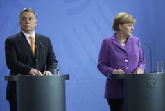 Viktor Orban, Angela Merkel Royalty Free Stock Image