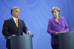 Viktor Orban, Angela Merkel Royalty Free Stock Photo