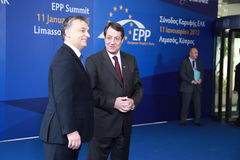 Viktor Orban and Nicos Anastasiades. Prime Minister of Hungary Viktor Orban and Nicos Anastasiades, Candidate for President of Cyprus in Presidential Elections royalty free stock images