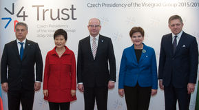 Viktor Orban, Parkowy Geun-hye, Bohuslav Sobotka, Beata Szydlo, Robert Fico Zdjęcia Royalty Free