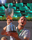 Viktor Troicki Tennis. 2012 World Team Cup. This photo shows Serb player Viktor Troicki celebrating after Troicki  won his Finals match against Czech Radek Royalty Free Stock Photography