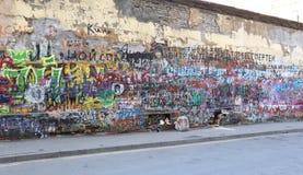 Viktor Tsoi Wall in Moscow Stock Photos