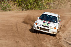 Viktor Usatov drives a  Mitsubishi Lancer  car Stock Images
