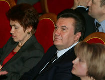 Viktor Yanukovych and Lyudmyla Yanukovych. On a World Russian People's Council royalty free stock photos