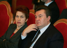 Viktor Yanukovych and Lyudmyla Yanukovych. On a World Russian People's Council royalty free stock images
