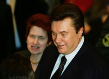 Viktor Yanukovych and Lyudmyla Yanukovych. On a World Russian People's Council stock photos