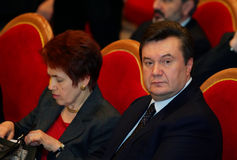 Viktor Yanukovych and Lyudmyla Yanukovych. On a World Russian People's Council royalty free stock photo