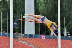 Viktoria Filina jumping with pole Stock Photo