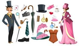 Viktorianische Damen- und Herrmodekollektion in der Karikaturart Weinlesekleidungs-Satzkorsett, Schuhe, Hut, Parfüm, Regenschirm, lizenzfreie abbildung