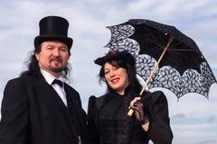 Viktorianische Paare mit Sonnenschirm Stockfoto