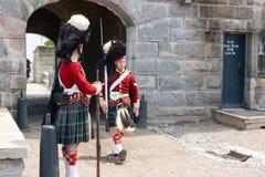 Viktorianische Soldaten in Halifax-Zitadelle Stockfoto