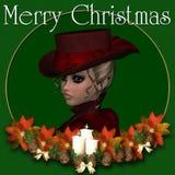 Viktorianischer Frauen-frohe Weihnacht-Hintergrund Stockfotografie
