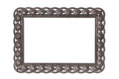 Viktorianischer leerer silberner Rahmen lokalisiert auf weißem Hintergrund Lizenzfreie Stockbilder