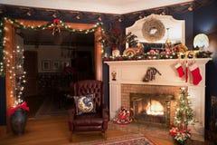 Viktorianischer Weihnachten-Liing-Raum Stockbild