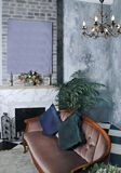 Viktorianisches Kaminzimmer Bild unter dem Kamin stockbilder