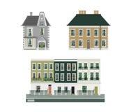 Viktoriansk byggnadsuppsättning av tre vektor illustrationer