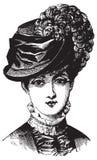 Viktoriansk illustration av kvinnan i hatt royaltyfri illustrationer