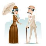 Viktorianska för tecknad filmtecken för dam och för gentleman förmögna symboler på Retro tappning för stilfull engelsk stadsbakgr royaltyfri illustrationer