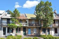 Viktorianska terrasserade hus i Sydney Australia Arkivfoto