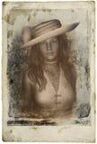 Viktorianskt kvinnatappningfotografi Arkivfoto
