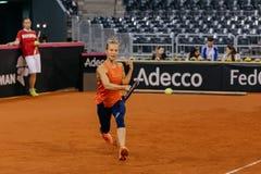Viktorija Golubic training at Fed Cup 2018. Cluj Napoca Sport Hall, Switzerland vs Romanian Team Stock Image