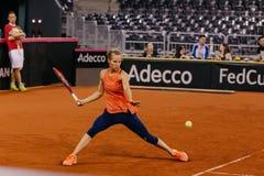 Viktorija Golubic training at Fed Cup 2018. Cluj Napoca Sport Hall, Switzerland vs Romanian Team Stock Photos