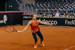 Viktorija Golubic training at Fed Cup 2018. Cluj Napoca Sport Hall, Switzerland vs Romanian Team Royalty Free Stock Image