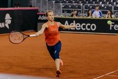 Viktorija Golubic training at Fed Cup 2018. Cluj Napoca Sport Hall, Switzerland vs Romanian Team Royalty Free Stock Photo