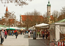 Viktualien markt, MunichGermany. Famous open air market in the middle of the city, touristic attraction stock photography