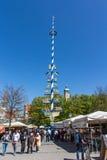 Viktualienmarkt em Munich, Baviera, Alemanha, 2015 imagens de stock