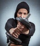 Viktutbildning för ung kvinna Arkivfoto