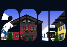 Vila alpina Ilustração Stock