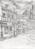Vila americana velha com as fachadas de madeira das casas, casas da cerveja imagem de stock royalty free